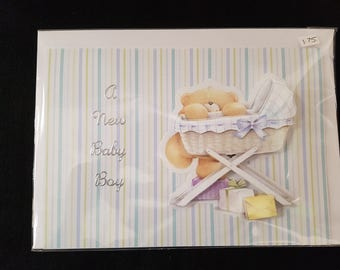 Handmade Forever Friends Decoupage New Baby Card