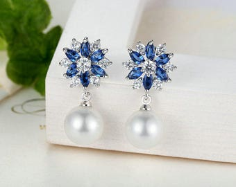 Pearl and crystal blue and white drop bridal earrings