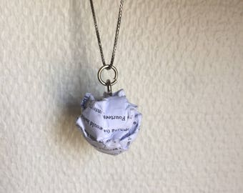 Pride and Prejudice - Paper Ball Pendant