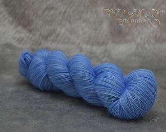 TARDIS Blue on Andromeda - Hand Dyed 75/20/5 Sparkle Sock Yarn