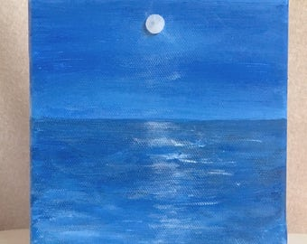 "Moon painting seascape painting moon rising over ocean, 6"" square w/ stone moon Topsail. Moonrise blue, gift, beach house, coastal decor"