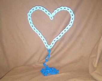 SCULPTED, WELDED,CHAIN , metal art. blue heart