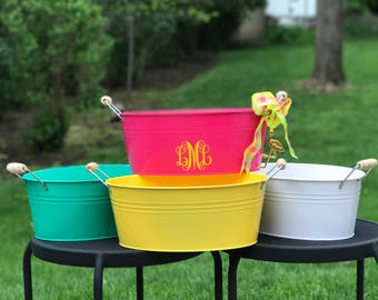 Monogrammed Beverage Bucket, Personalized Beverage Bucket, Customized Beverage Bucket, Beverage Tub, Housewarming Gift, Wedding Gift,