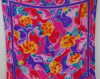 Oversized Scarf, Tropical Print Scarf, Pink Flowered Scarf, Large Silk Wrap, Tropical Silk Wrap, Large Scarf, Summer Scarf