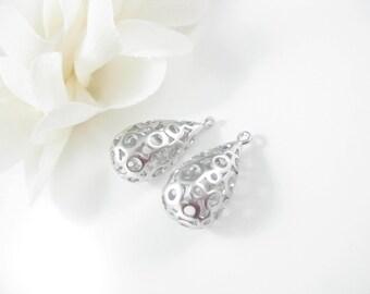2PC Matte Silver Teardrop Pendant, Jewelry Supplies 29x12mm