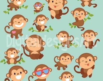 monkey clipart, monkey digital clipart, monkey printable, monkey theme, monkey pose, monkey stickers