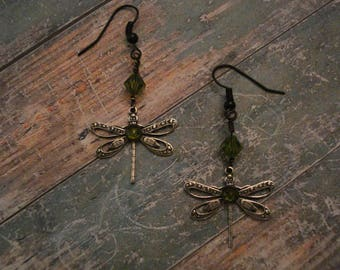 Antiqued Silver Dragon Fly Earrings
