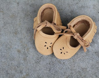 CAMEL II Mary Jane Moccasins Soft Soled Leather Shoes Baby and Toddler