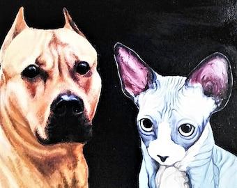Custom Pet Portrait. Pet painting. Custom pet painting. Custom Oil painting. Dog and cat portrait oil. Art-oil painting.