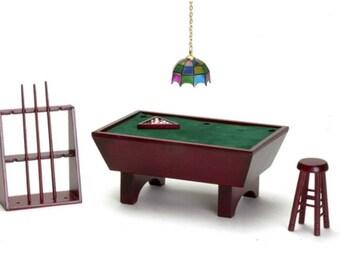 Dollhouse Miniature Pool Table Set