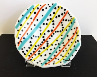 Whimsical fused glass bowl