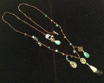 Silver long necklace green