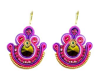 Dalias Pink Handmade Soutache Earrings