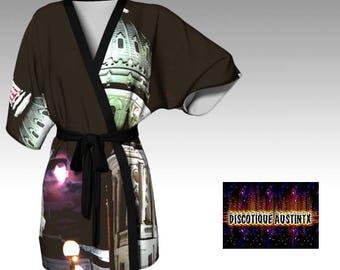 Texas Capitol Robe Beautiful Full Moon at Capitol Brown White Kimono Robe Original Exclusive Art Photography Print Downtown Austin Texas