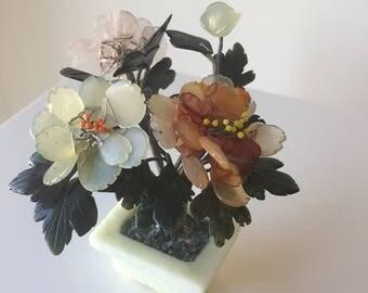 retro Jade Vintage 1950's Chinese Jade Pot and Peony Flower Bonsai tree