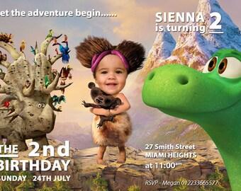 Girl Good dinosaur Invitation, Girl Good Dinosaur Birthday, Cavegirl Invitation, Cute Girl's PHOTO Birthday Invitation, Photo Good Dinosaur