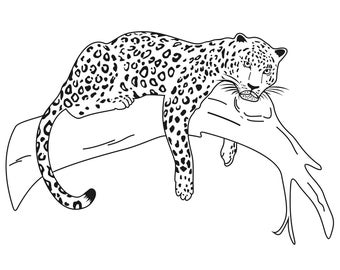 Leopard Wild Cat Graphics SVG Dxf EPS Png Cdr Ai Pdf Vector Art Clipart Instant Download