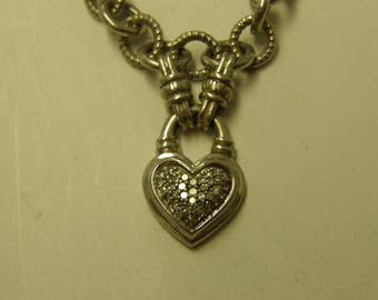 """Sterling Silver Diamonds Heart Pendant - 17"""" Heavy Sterling Silver Rope Chain Necklace"""