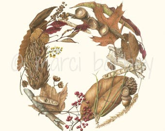 Botanical Illustration - Winter Wreath - 16x20 inch Matted Art Print with Seed Pods, Acorns, Pinecones, Leaves, Twigs & Berries