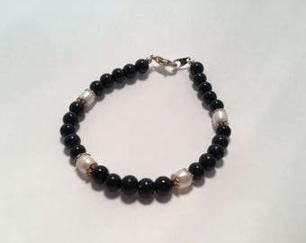 Black Onyx with Pearl Bracelet