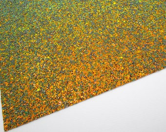 FLAWED Autumn Glow Iridescent Extra Chunky Glitter 8X11 Fabric Sheet on White Soft Lycra Material, Color Changing