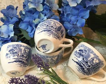 Set of 4 Enoch Wedgwood Countryside Teacups