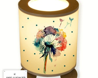 Night Stand Table Desk Lamp Dandelion Flower watercolour with dots TL054