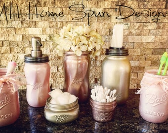 gorgeous vintage gold rose and blush pearl pink mason jar bathroom set with soap dispenser