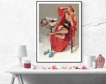 Gil Elvgren Blonde Pin up Girl Vintage Art Poster Print Canvas Print Wall Art  Home decor pinup poster retro size A2/A3/A4