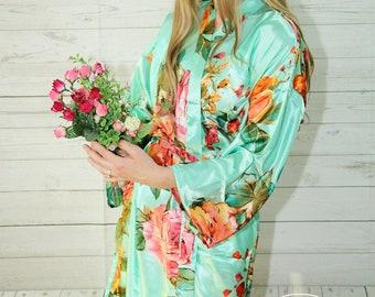Set of 6 Robes, Bridesmaid Robes, Bridesmaid Gift, Bridal Robe, Satin Floral Robe, Bridesmaid Gifts, Bridal Robes Set