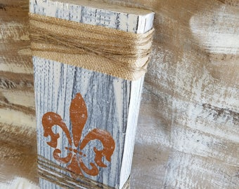Distressed Wood Block with Fleur-De-Lis, Twine, Home Decor, Shabby Chic, Shelf Decor, Beige, Rectangle