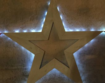 Solar Powered Star | Rustic Star | Wooden Star |  Indoor Wall Decor | Outdoor Decor