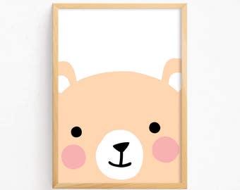 Sale 50% Off - Cute Bear Face Poster ( Printable Art Baby Boys Girls Animal Illustration Kawaii Kids Room Art Print Nursery Instant Download