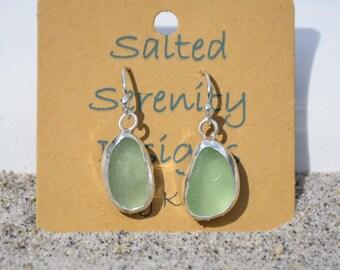 Sea Glass Earrings Sterling Silver Seafoam Green