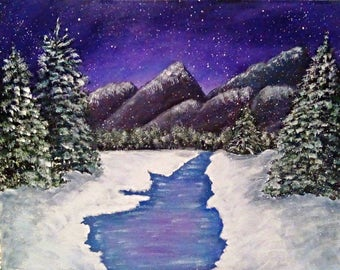 Winter Mountain Painting, Snow Painting, Christmas Painting, Fine Art, Wall Art, Gift