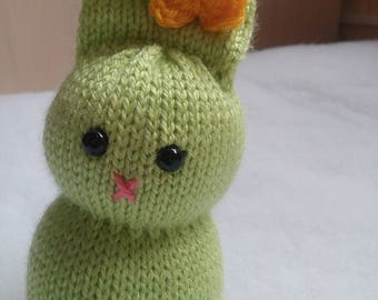 14 cm Light Green Rabbit Knitted Toy