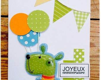 Kids Birthday - fancy sticker card