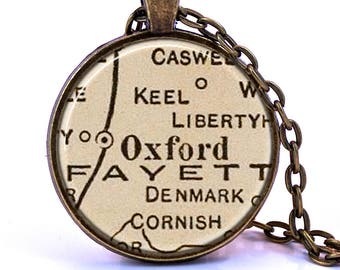 Oxford, Mississippi Map Pendant Necklace - Created from a vintage map published in 1927. Oxford Gift, Oxford Jewelry, Oxford Necklace