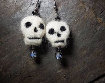 Felted skull and opelite drop earrings gift/Halloween/pirate/day of the dead/felt/wool/crystals/semi precious