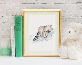 Woodland Nursery, Nursery Art, Woodland Animal Prints - Raccoon Art Print - Baby Shower Gift - Gender Neutral Nursery Decor
