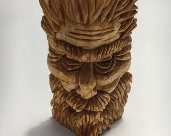 sculpture-the WISE-in lime wood-carved by hand made in italy gift idea-the wood runes