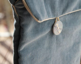 Corduroy blue shoulder bag - Custom item