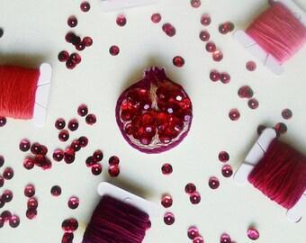Pomegranate brooch handmade