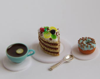 Polymer clay miniature food 1:6 Tea set
