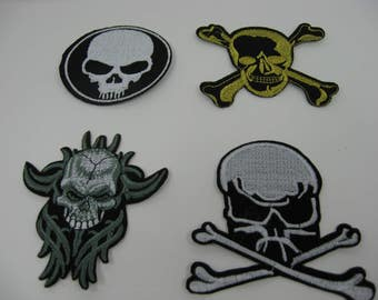 Various Embroidered Applique Skull Iron On Patches Great For Jackets Bookbags Hats Clothing Scrapbooking Bikers Sewing