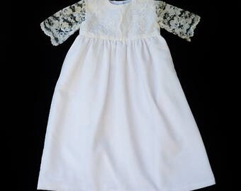 Christening dress, Baby girls Baptism dress, White lace dress, size 6-12,  18-24months