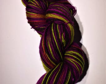 Hand-dyed Self Striping yarn - berry wild thang - super wash wool sock yarn