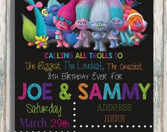 The Biggest, The Loudest, The Craziest Birthday Ever! - Trolls Birthday Invitation - Boy or Girl Party - Calling all Trolls