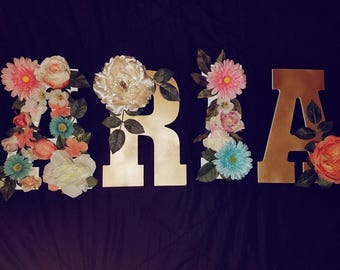 Custom Floral Name, Floral Letter, Floral Marquee Letters, Floral Nursery, Baby Shower Name Decor