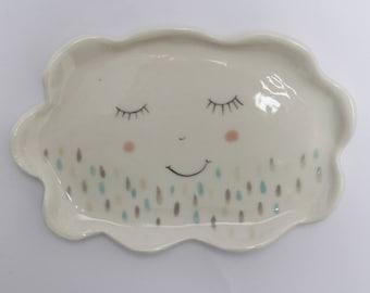 Cloud plate - ceramic plate, spoon rest. porcelain plate